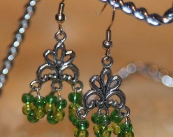 Light and medium green earrings