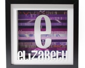 personalized name art- shadowbox made from recycled magazines, children's decor, kids, nursery