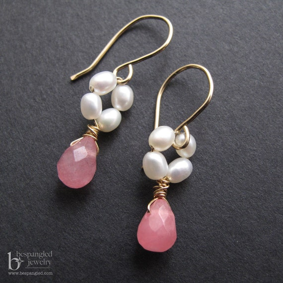 Precious Pink and Pearl Earrings, Dainty Earrings, Flower Girl Earrings, Spring Bridesmaid Earrings, Pink and White (gold or silver)