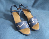 Vintage, Blue And Silver, Sling Back, Penaljo, Sandals, Size 5 1/2