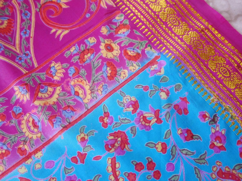 Printed Sari Fabric Floral Paisley Peacock Blue Shocking