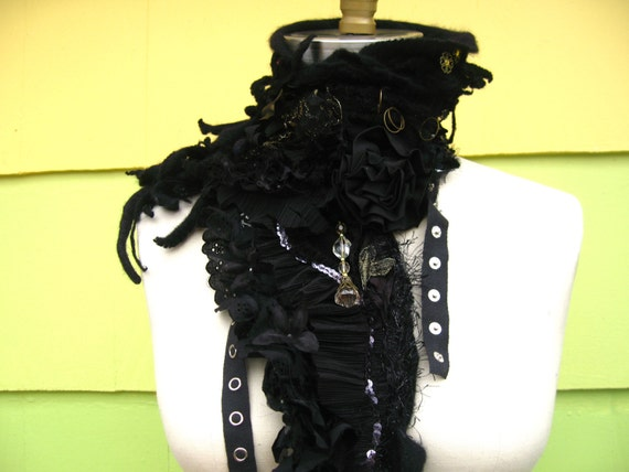 Rugged distressed cashmere  SCARF/ SHAWL/Wrap with a lot  of textures. Goth Lolita.