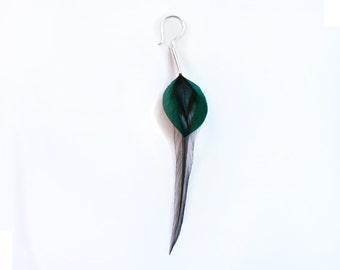 Long Single Feather Earring in Teal Green Leaf Shape with Black Layered Natural Iridescent Accents