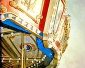 Vintage golden yellow carousel ride amusement park home decor wall art - Merry go round 8 x 10