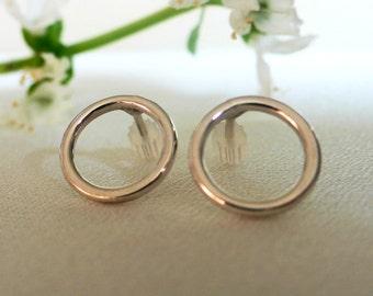 Silver Circle Post Earrings