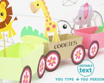 Animal Jungle Train Party Favor Box Truck Paper Craft Toy for GIRLS - Editable Text Printable PDF 0136