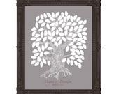 Digital Guest Book Oak Tree Personalised Wedding 100 Guest's Signatures - 16x20  - Wedding Guest Book Oak Tree