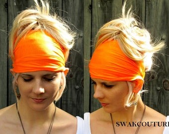 Orange Head Scarf Stretchy Cotton Jersey Wide Headband Women's Workout Yoga HeadBand Hair Wrap Hesd Wrap Gifts for her  Choose Your Color