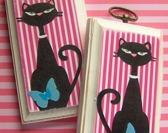 Black Cat Picture, Cat Lover, Home Decor, Feline Fancy, Teal Butterflies, Bedroom Decor, Gifts for Her, Gifts for Him, Hot Pink Stripes, Cat