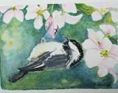 Original Watercolor Painting,Birds in our Garden Series no. 27 / Chickadee / ACEO,watercolor,small paintings,free shipping in North America