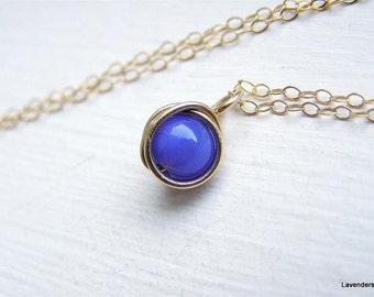 Blue Agate Necklace, Gold Fill , Wire Wrapped Gemstone Charm  , Modern Minimalist , Agate  Jewelry