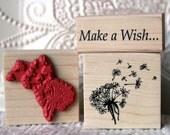 Dandelion Wish flower rubber stamp from oldislandstamps