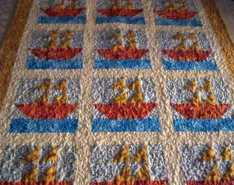 SPECIAL ORDER, Sail Boat Baby Quilt, Nautical Lap Quilt, Sailboat Blanket