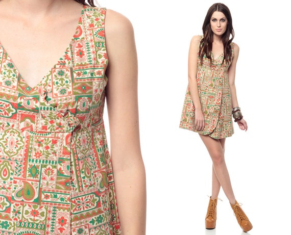 Hippie Mini Dress 60s Paisley Floral Print 1960s Groovy Sixties Psychedelic 70s Vintage Wrap Babydoll Sleeveless Deep V Small Medium S M