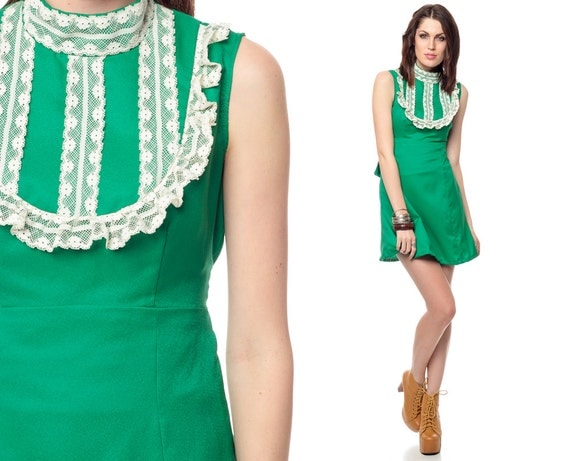 60s Babydoll Dress Bib Lace Ruffle Mini Kelly Green 1960s Mod Empire Waist Lolita Sleeveless High Neck Minidress Small Medium