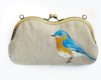 Bird Hand painted Vintage Glasses case (made to order)
