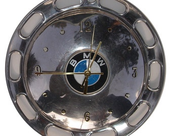 BMW Hubcap Clock, '80s with numbers (h hubcap art)  recycled wall clock