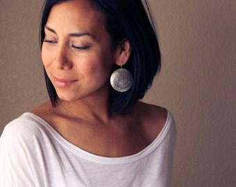 """Cultural silver earrings, bold round silver dangles with an intricate pattern and earthy feel, travel inspired - """"Silver Mandala Earrings"""""""