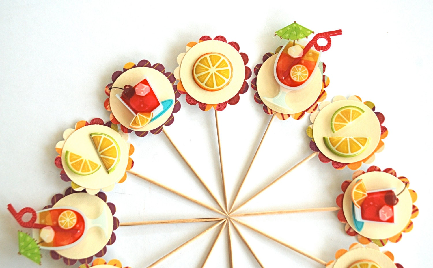 Cocktail Cupcake Toppers. Cocktail Party. Cocktail Picks. Cirtrus Party. Fruity Drinks. Adult Birthday Party Decor. Girls Night in. Alcohol.