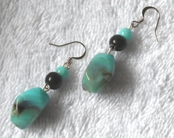 Turquoise and Black Pierce Earrings