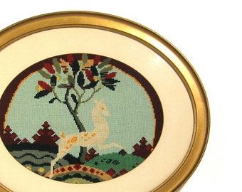 Large Antique Oval Gold Wood Frame Deer Gazelle Needlepoint Embroidery under Glass