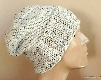 Mens Baby Alpaca Slouchy Knit Hat, Cream Tweed Slouchy Beanie Watch Cap for Adults Teens Boys // HEWITT //  Color T10