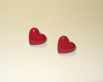 Vintage Red Heart Post Earrings DEADSTOCK