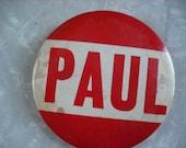 Vintage Beatles Paul McCartney Pin Back Button Red Paul 1960s Original
