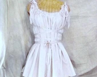 Off White Corset Dress Renaissance Gretel Tunic Graduation Fairy Nova Star Ribbon Womens Fashion