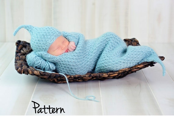 make your own Cushy Cocoon & Hat (DIGITAL KNITTING PATTERN) preemie newborn baby