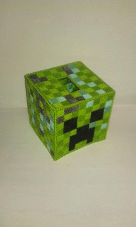 Minecraft creeper tissue box cover plastic canvas for Tissue box cover craft