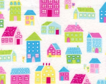 SALE Free Spirit by Erin McMorris Irving Street Neighborhood Flannel FEM01 Pink 1 YARD CUT