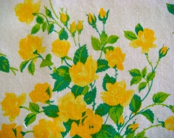 Wilendur Yellow Princess Roses Cotton Fabric 13 x 15 Inches