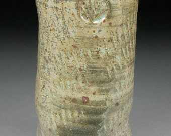 Handmade Shino and Portland Cement Glazed Stoneware Vase Floral Container, Ancient Bone Like feel in the hand