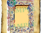 """Digital Graphic """"Medieval Pentacle"""" Border - Clipart Page, Wiccan Pagan Pentacle BoS Book of Shadows"""