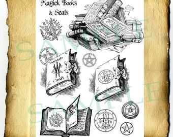 Digital Graphic Magic Spell Books - BoS clipart, Witchcraft Wiccan Pagan