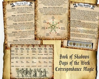 Digital Book of Shadows 4 Pages - Magick Days of the Week, Greco Roman Correspondence Charts, History - Wiccan Pagan