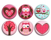 Owls and Hearts (Set of 6) 1 Inch fridge MAGNETS - cute owl decor, owl magnets, owl party favors, valentine owls, valentine day favors