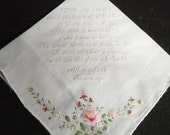 Handkerchief  - Machine embroidered - Under 40 words in saying - customerized with your saying