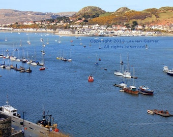Boats in the Conwy - River Sailboat Llandudno Wales UK United Kingdom River Blue Llandudno Alice in Wonderland Decor Art - 8x10 Photograph