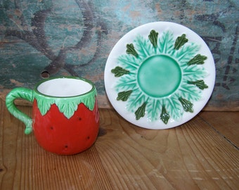 Strawberry, Tea Cup Saucer, Les Fraises, Majolica, Green and Red, Tea Party, Childs Cup, Vintage