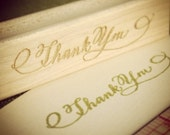 SALE Calligraphy Thank You Stamp - Handwritten for cardmaking and scrapbooking