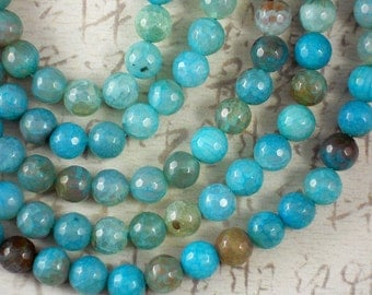 36 Turquoise & Caramel Fire Agate Beads 10mm Disco Faceted Round Bead (5074)