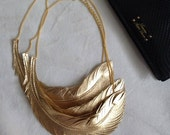 Leather Feather Necklace, Metallic Gold Feather Jewelry -Statement Necklace