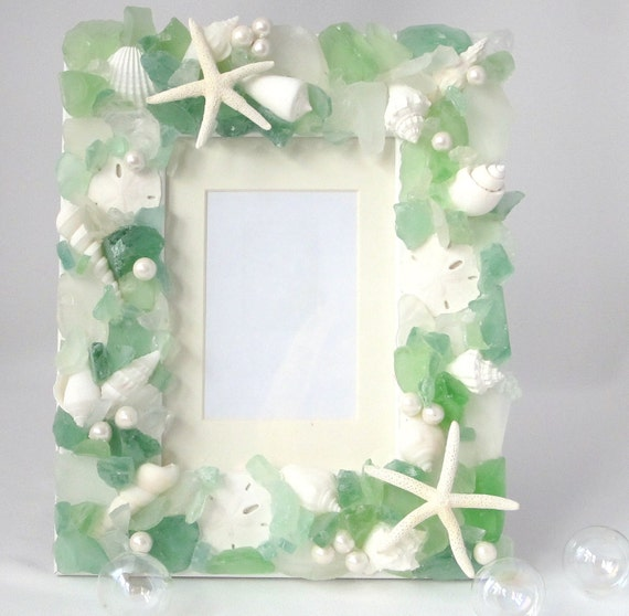 Beach Decor Sea Glass & Seashell Frame - Nautical Decor Shell Frame w Beach Glass, Starfish, Pearls, 5x7 Green