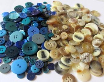 100 Beach / Ocean Craft Buttons, blue, tan, sewing, scrapbooking, cards, notion