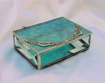 Iridescent turquoise glass  box .