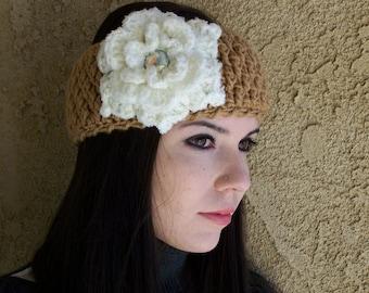Headband with Large Flower and rhinestone center