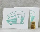 Retro Camper Letterpress Folded Note Card Set - Retro Camper, Vintage Camper, Travel Trailer, Airstream, Aqua Blue (Set of 3)