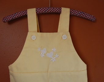SALE Sunshine Yellow Childrens Embroidered Heart Overalls (12-18 mos.)